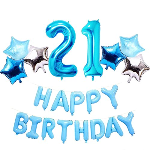 Bday Mylar Balloon - AZOWA Big 21 Number Balloons Blue Jumbo Number 21 Balloons with Happy Birthday Letter Balloons Star Shaped Mylar Balloons for 21th Birthday Party Decorations