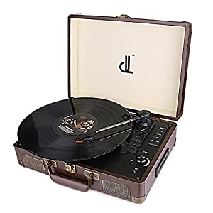 D&L Belt-Drive 3 Speed Turntable Portable Wooden Suitcase Record Player with Built-in Stereo Speakers, PC Recorder, Headphone Jack, RCA line out