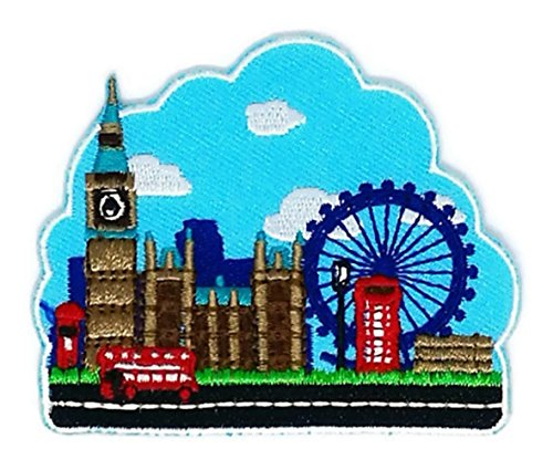 3 inches x 2.5 inches. City of London Big Ben Flag Embroidered Patch - To Usps Canada How Ship To