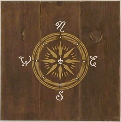 [Compass - Steampunk / Naval / Explorer / Travel - Rustic Wood Wall Art] (Pirate Cost)
