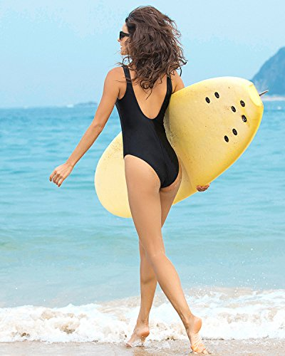 Funnygirl Women's Sexy Retro One Piece Swimsuit High Cut Backless Beach Swimwear Bathing Suit Black Medium by Funnygirl (Image #5)