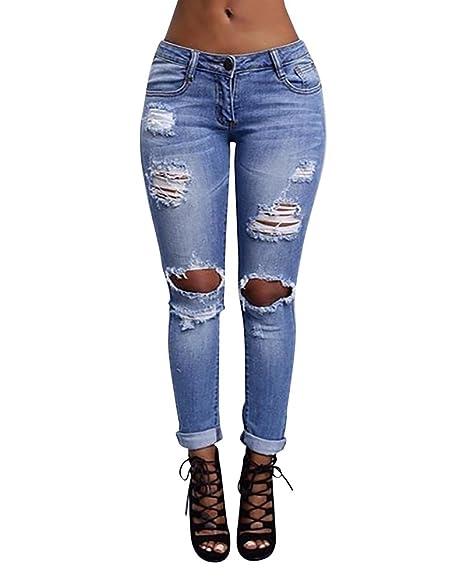 comprar real comprar oficial calidad autentica MISSMAO Mujer Pantalones Vaqueros Dril Rotos Jeans Pantalones Rasgados