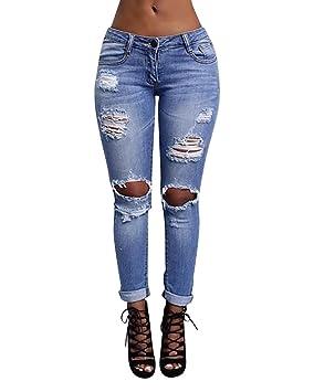 MISSMAO Mujer Pantalones Vaqueros Dril Rotos Jeans Pantalones Rasgados
