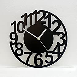 Art digital clock,Living room style wall clock [creative] Personality Large wall charts Silent [modern] Simple Decorative clock-black 16inch