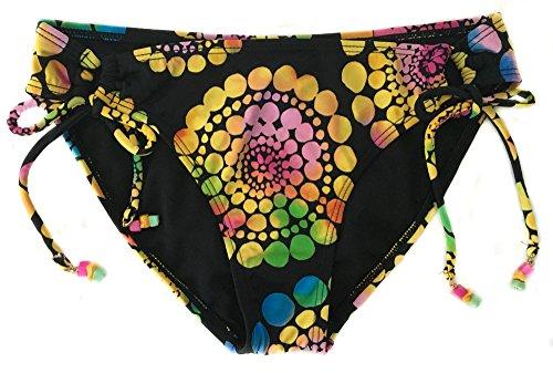 Roxy 70s Lowrider Tie Side Black Multi Color Womens Swim Suit Bottom Small Black