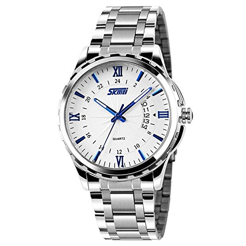 Men's Unique Roman Numeral Analog Quartz Waterproof Business Casual Stainless (Roman Silver Bands)