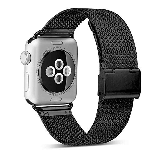 ADWLOF Compatible for Apple Watch Band 42mm 44mm,Stainless Steel Mesh Sport Wristband Loop with Strong Magnetic Closure Strap for iWatch Series 1,2,3,4,Black