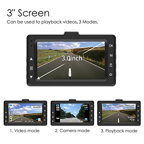 Favoto Dash Cam Full HD 1080P 12 Megapixel Camera 3'' Large LCD Screen 170° Wide Angle Lens Car Camera Recorder with G-Sensor WDR Night Vision Loop Recording Motion Sensor by Favoto (Image #4)