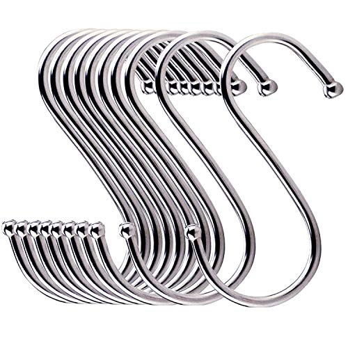 24 Pack ESFUN Round S Shaped Hooks Hangers for Kitchen, Bathroom, Bedroom and Office