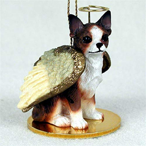 Ky & Co YesKela Chihuahua Ornament Angel Figurine Hand Painted Brindle