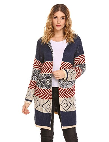 Unibelle Womens Basic Open Front Knit Cardigan Sweater Top Blue S (Knit Cardigan Sweater Top)