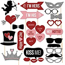 Elisona-27 Pcs DIY Photography Photo Booth Props Kit for Wedding Birthdays Party Valentine's Day Favor Decoration Travel Selfie Dress-up Accessories