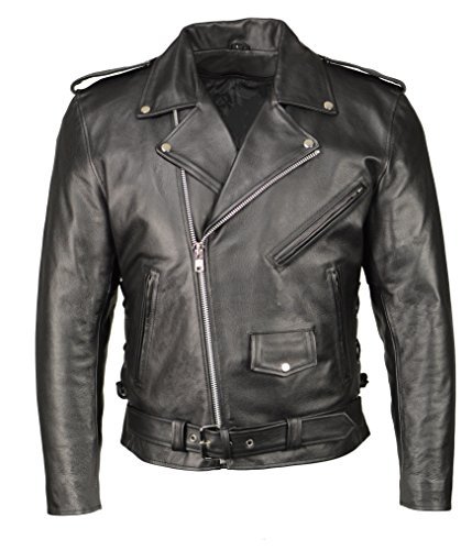 M Boss Apparel BOS11507 Mens Black Armored Classic Side Lace Biker Jacket - X-Large