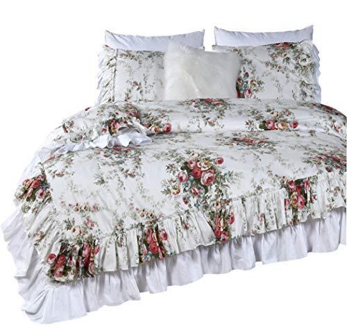 Queen's House Shabby Ruffle Duvet Cover Set Elegant Rose Printed Quilt/Comforter Cover Bedding Set King Size