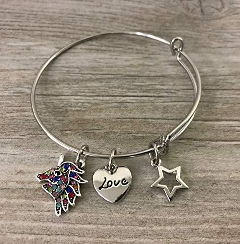 Infinity Collection Unicorn Charm Bangle Bracelet, Unicorn Rainbow Rhinestone Bangle, Unicorn Gift