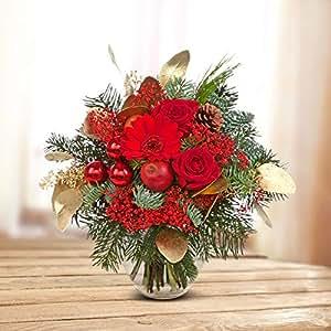 Ramo 'abeto Aroma'–Diámetro aprox. 25cm–Con Rosas Rojas y GERMINI, pino negro Piñas, GYPSO, eucalipto y decoración–Incluye schnittblumenfrisch y consejos