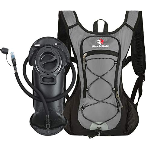 ROCKRAIN Windrunner Lightweight Hydration Pack with 2L BPA Free Water Bladder - Keeps Liquid Cool up to 4 Hours,Outdoor Sports Gear for Running, Cycling, Hiking, Biking, Camping (Grey) ()