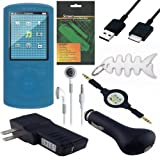 8 Piece Premium Value Combo Accessory Bundle Kit: Blue Silicone Skin Case Cover + USB Car Charger + USB Wall / Travel / AC Adapter Charger + USB 2in1 Data Sync Cable + White Stereo Headphone + 3.5mm Aux Retractable Cable + Screen Protector / Guard + Fishb