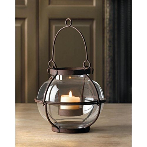 Small Rustic Heirloom Round Glass and Iron Lantern Votive Hanging Candle Holder