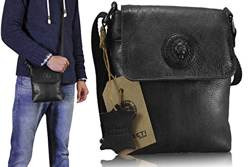 Messenger Genuine Lion Men Bag Leather For 3d Black Designer Fereti gIxSZAq5