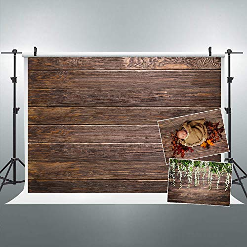 Riyidecor Wood Backdrop Wooden Floor Brown Retro Wall Vintage Photo Photography Background 7X5ft Barn Decorations Birthday Celebration Props Photo Shoot Vinyl Cloth