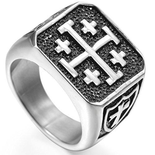 (Jude Jewelers Stainless Steel Crusader Jerusalem Cross Ring (12.5))