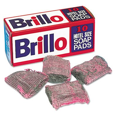 "Brillo Hotel Size Soap Pad, 4"" x 4"", Steel Wool, 10/Box"
