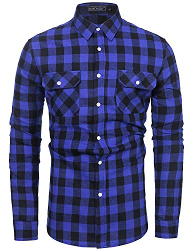 TUNEVUSE Mens Button Down Plaid Flannel Shirt Regular Fit Long Sleeve Buffalo Plaid Shirt Camp Hanging Out or Work Blue Flannel Shirt X-Large