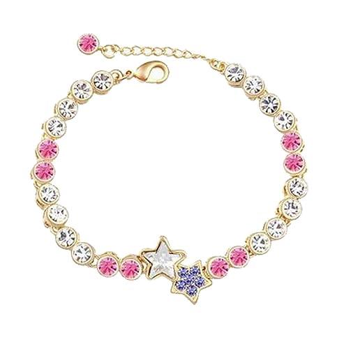 3239b2468c24 modogirl elementos de Swarovski Crystal Lucky horóscopo Star Corlorful  pulsera para mujer rosa rojo  Amazon.es  Joyería