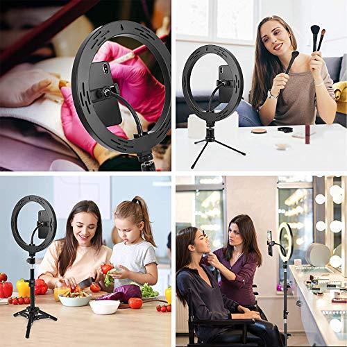 Lumière Anneau avec Trépied, BONFOTO 25,6cm Selfie Anneau Lumineux avec 10 réglable RGB couleurs Télécommande et support de téléphone, pour Maquillage/Live-Stream/Photographie/Youtube TikTok Vidéo