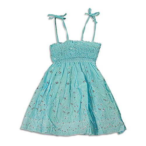 Lipstik Big Girls' - Big Girls' Spaghetti Strap Sundress Dress, Light Turquoise (Lipstik Green)
