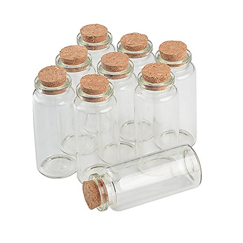 - TAI DIAN Empty Mini Bottle with Cork Stopper 30ml Jars idea for Wedding Small Wishing Bottles Wholesale 50pcs (50, 30ml-30x70x17mm)