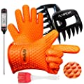 FLYSPEAR BBQ Gloves, Meat Claws, Meat Thermometer and BBQ Silicone Brush Superior Value Premium Set (4 pc Set) - Heat Resistant/Non-Slip/Safe/Cooking/Grilling Silicone Gloves for Indoor & Outdoor