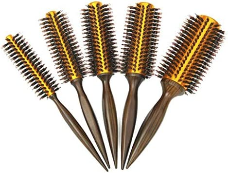 Tamkyo Natural Boar Bristle Round Brush Wooden Handle Hair Rolling Brush for Hair Drying Styling Curling