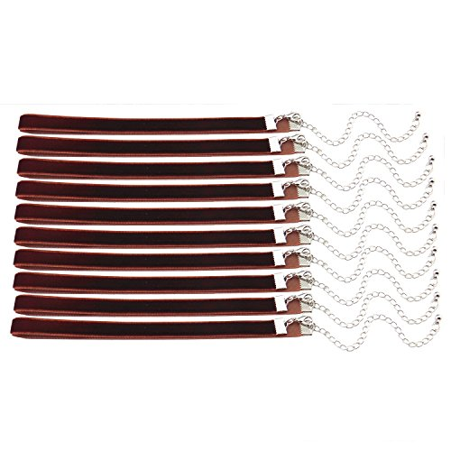 20pcs 3/8'' Brown Velvet Chokers Vintage Necklace for Women With Extension (XL-1012) (Halloween Costume 1012)