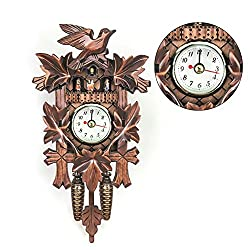 Dreamseeker European Style Wooden Retro Decorative Clock Cuckoo Clock with Swinging Pendulum for Family Living Room ,Battery Operated,Easy to Read for,Indoor Decoration(Brown)