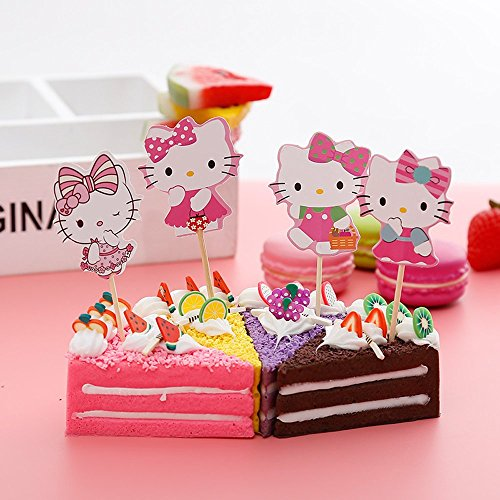 (Cupcake Toppers Birthday Party Supplies,Cake Decoration Baby Showerfor for Kids Birthday Party-Hello Kitty Set of)