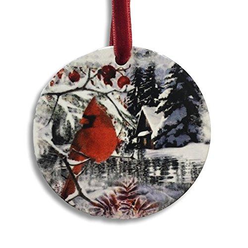 Berry Christmas Ornament - BANBERRY DESIGNS 2018 Merry Christmas Ornament - Winter and Berry Cardinal Design - Xmas