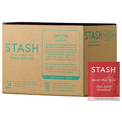 Stash Tea Decaf Chai Spice Black Tea, 100 Count Box of Tea Bags in Foil (packaging may vary)