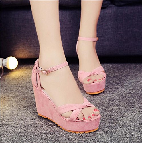 KHSKX-Slope Heel Fish Mouth Sandals Spring And Summer New Style Slope With Fish Mouth Sandals High Heel Belt Buckle Shallow Mouth Women Shoes A Word With Waterproofing Sandals Thirty-nine l7ytLzoqH