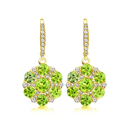 - Yellow Gold Flashed Sterling Silver Peridot and White Topaz Flower Dangle Leverback Earrings