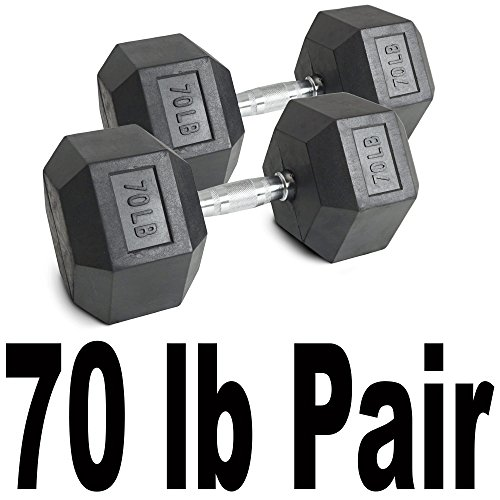 Pair 70 lb Black Rubber Coated Hex Dumbbells Weight Training Set 140 lb Fitness by Titan Fitness (Image #4)