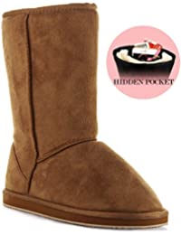 Room Of Fashion Winter Pull-On Mid Calf Boots - Comfort Shearling Fur Lined Vegan Suede Anti-Slip Rubber Sole - Exclusive Cell Phone Pocket Booties