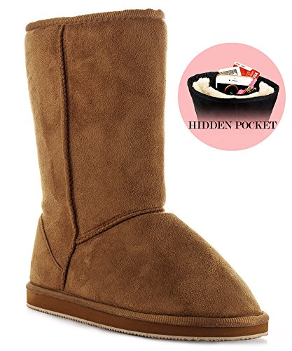 Room Of Fashion RF Winter Pull-On Mid Calf Boots - Comfort Shearling Fur Lined Vegan Suede Anti-Slip...
