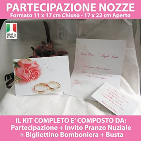 Kit Partecipazioni Matrimonio.Printerland It 10 Partecipazioni Nozze Inviti Matrimonio Sposi