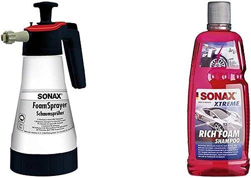 Sonax 04965410 Foamsprayer Richfoam Shampoo 1 Liter Schaum Shampoo Snow Foam Shampoo Erzeugt Dichten Langhaftenden Schmutzlösenden Schaumteppich Ph Neutral Berry Duft Art Nr 02483000 Auto