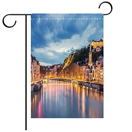 BEICICI Garden Flag Double Sided Decorative Flags European View of Saone River in Lyon City at Evening France Blue Hour Historic Buildings Multicolor Best for Party Yard and Home Outdoor Decor ()