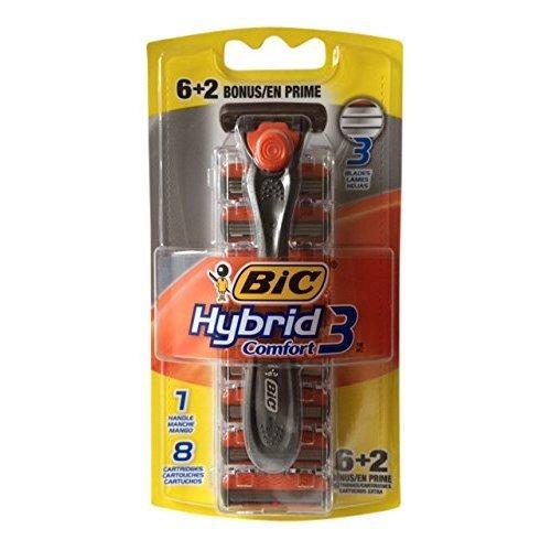 BIC Hybrid 3 Comfort Disposable Men's Razor, 3 Blades, Silver/Orange, 8 PK Bonus Pack (8)