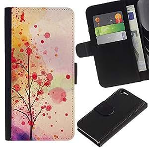 KingStore / Leather Etui en cuir / Apple Iphone 6 / Hojas de otoño Árbol romántico