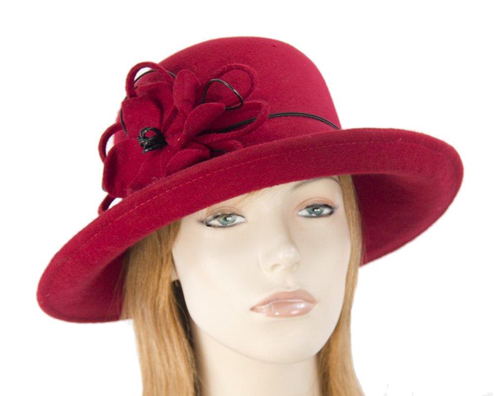 Max Alexander Red pure wool felt ladies winter hat